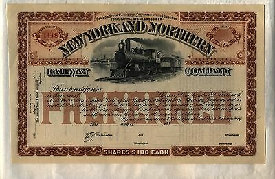New York & Northern Railway Company Stock Certificate Railroad