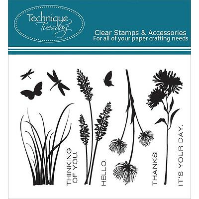 Technique Tuesday Clear Stamps 7.6cm x 10cm -Wildflowers. Shipping Included