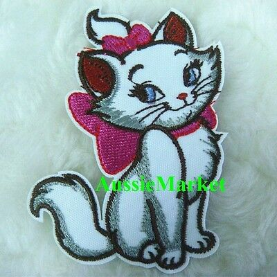 1 x cat patch patches girls dress iron sew on motif applique embroidered fabric