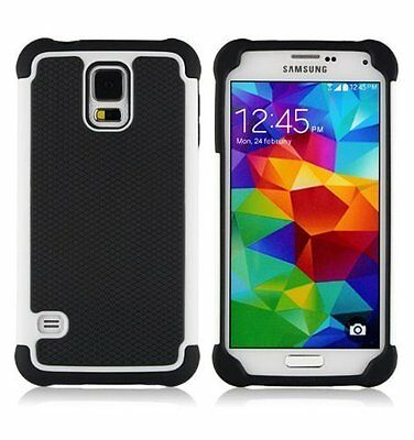 Case/Cover Samsung Galaxy S5 + Screen Protector / Shockproof Dual Layer / White