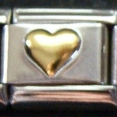 Gold colour heart charm - 9mm Italian charm will fit Nomination classic bracelet