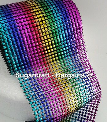 rainbow Bling Ribbon 24 Row multi Coloured 1 metre  cakes craft sewing sparkly