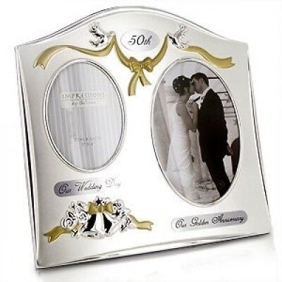 """Two Tone Silverplated Wedding Anniversary Gift Photo Frame - """"50th Golden Annive"""