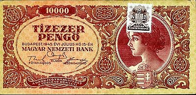 HUNGARY 10,000 10000 Pengo 15/7/1945 P-119 VF circulated banknote with stamp