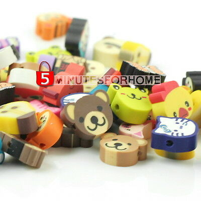 100 New Lovely Charming Multicolour Fimo Animal Loose Spacer Beads ma3y