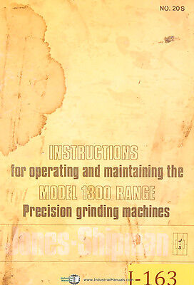 Jones & Lamson 1300 Series, Grinder Operations and Maintenance Manual