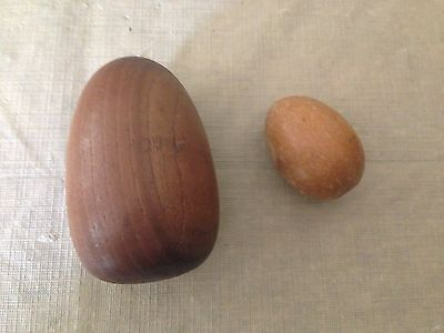 2 VINTAGE WOODEN EGGS FOR DARNING SOCKS, LARGE AND SMALL NO HANDLE