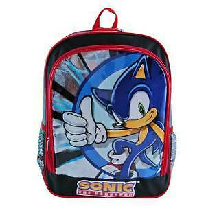 "Backpack - Sonic the Hedgehog - 16"" Silver/Blue No. 1 Pose Large School Bag New"