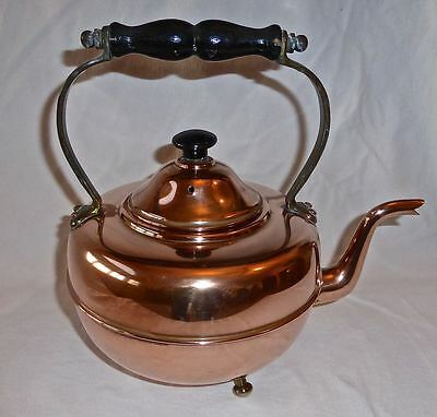 Vintage Copper Tea Kettle With 3 Brass Feet and Handle Made in England