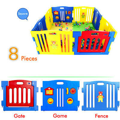 8pcs Baby BOYS GIRLS Playpen with Safety Gate & Toys Fun