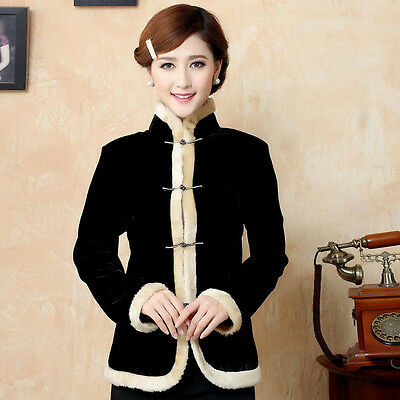 Black Velour Chinese Traditional Women's Coats Jackets Outer Wear M-4XL Winter