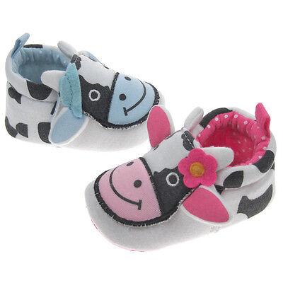 Baby Girl soft sole PINK Character Smiley COW Slipper / Bootee with DAISY