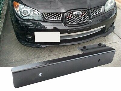Black Offset Bumper Front License Plate Mounting Bracket Plate for Car SUV Truck