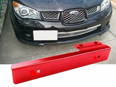 Red Offset Bumper Front License Plate Mounting Bracket Plate for Car SUV Truck