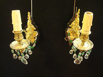 Antique Pair of Solid Bronze Wall Sconces