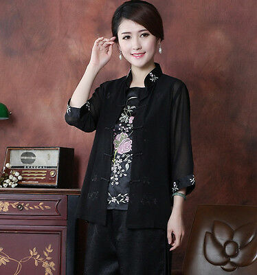 Voile Satin Embroider Flower Chinese Women's Twinset Coats Jackets M L XL XXL 3X