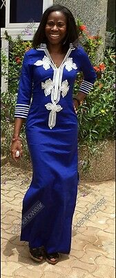 Odeneho Wear Ladies Blue Polished Cotton/ White Embroidery. African Clothing. L
