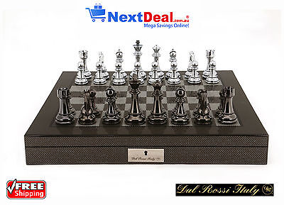 "Dal Rossi Italy Premium Chess Set with 20"" Carbon Fibre Style Gloss Finish Box"