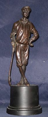 Bronze Statue of Golfer in Vintage Attire, Tall base, Felt Bottom, Made in India