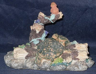 K's Collection, Pond Scene w/Sunning Turtles and Bird on a branch resin figurine