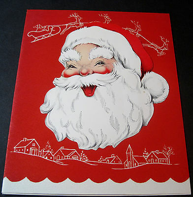 Used Vintage Christmas Card Jolly Santa Claus with Town & Sleigh Sketches
