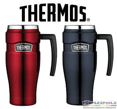NEW THERMOS 470ml STAINLESS STEEL KING TRAVEL MUG Insulated Cup Coffee RED BLUE