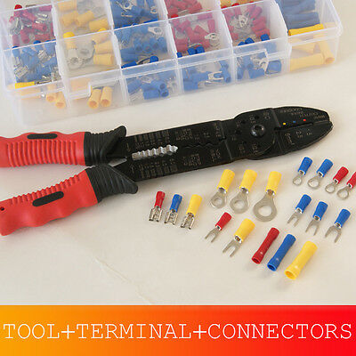 Unique Wire Terminal and Connection Kit with Crimping Wire Stripping Tool 175Pcs