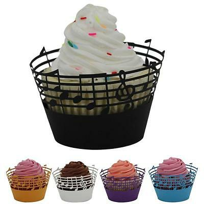 25pcs Lace Laser Cut Cupcake Wrapper Liner Music Note Paper Baking Cup Muffin