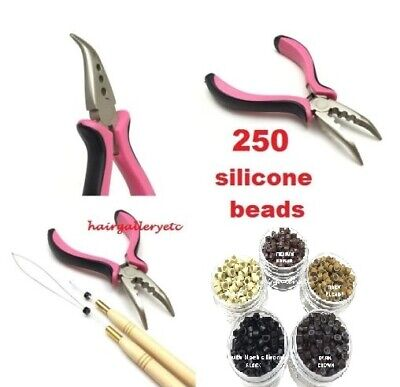 250 Silicone Micro Rings Beads Feather Hair Extension COMPLETE TOOL KIT HOOK