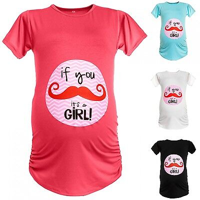 Happy Mama Women's Maternity Funny *If you Moustache It's a Girl* T-shirt. 136p