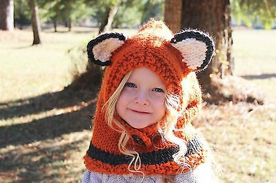 Sly Little Fox Cowl Hood Knitted Handmade Lobster Pirate