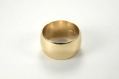 14k Yellow Gold Wide Band Convex Band Ring Size 6.5