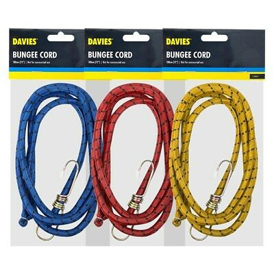 """2 x 72/"""" 9mm Bungee Cords Straps Hooks Elasticated Ropes Car Bike Red Tie Luggage"""