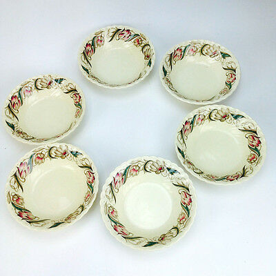 Lot of 6 SUSIE COOPER RIBBED SOUP / CEREAL BOWLS 1417 Made in England Signed