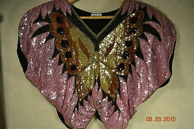 Blouse/Top SWEE LO Sequin Covered Butterfly on 100% Black Silk