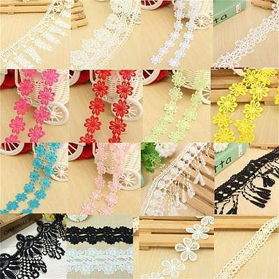Fabric Embroidered Flower Lace Edge Applique Ribbon Trim Venise Sewing DIY Craft