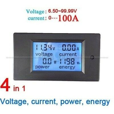 100A DC Digital LCD Power Meter Monitor Power Energy Voltmeter Ammeter 12V 24V