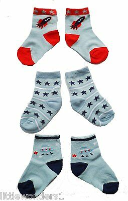 3 x Pairs Blue Baby Boys Cute Rocket/Space/Stars Socks -UK SIZE 0-0, 0-2, 3.5