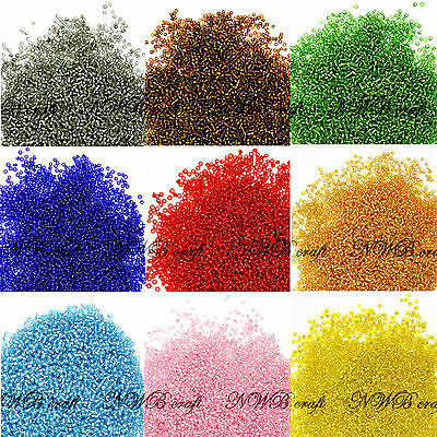 50g Glass Seed Beads Silver Lined 2mm (11/0 ) 3mm (8/0) 4mm (6/0) UK Stock