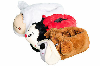 Women's Girls Novelty Faux Fur Plush Animal Slippers Pull On Cushioned Warm NEW