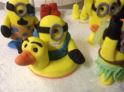 Edible Pool Party Minions Despicable Me inspired Fondant Cake toppers 6 & 10 cm