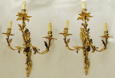 Pair of sconces Antique excellent French Louis XV style Solid bronze