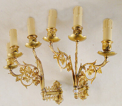 Pair of sconces Antique excellent French  Solid bronze 3 new wood candles