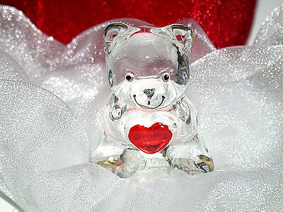 Beautiful Vintage Glass Bear With Red Heart Figurine In Red Heart Box-MIP