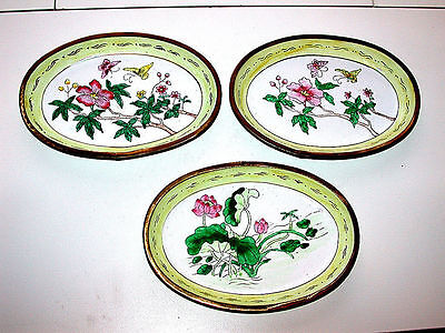 Antique Chinese Canton Femille Rose Enameled Brass Rare Three Oval Dishes Set