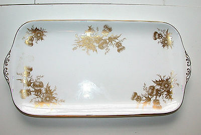 Beautiful Vintage Hammersley England Gold Floral Motif Two Handle Oblong Platter