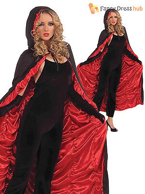 Ladies Hooded Vampire Cape Deluxe Long Vampire Cloak  Halloween Fancy Dress