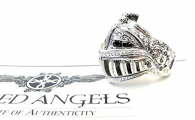 14K White Gold Medieval Knight Helmet Ring With Black Diamonds By Sacred Angels
