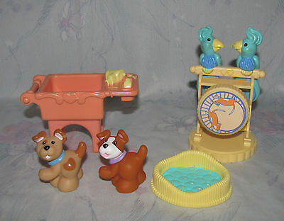 Fisher Price Loving Family Dollhouse Pet Set 2 Birds, Dogs, Puppies, Washtub