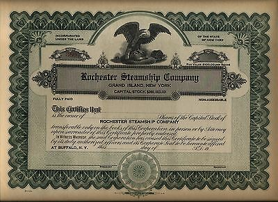 Rochester Steamship Company Stock Certificate Grand Island New York